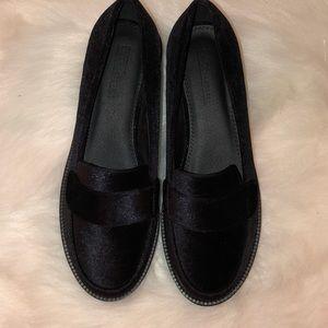 ASOS black velvet penny loafers 9